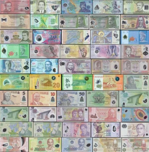 50 rôznych polymerových bankoviek svet