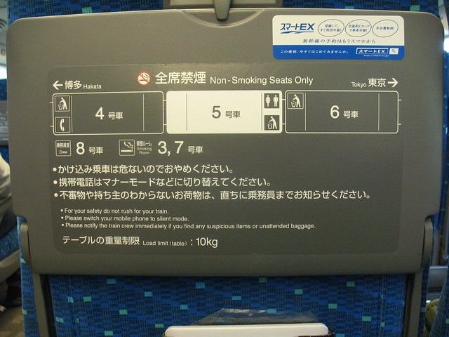 Shinkansen Hikari, Explanation on the front seat