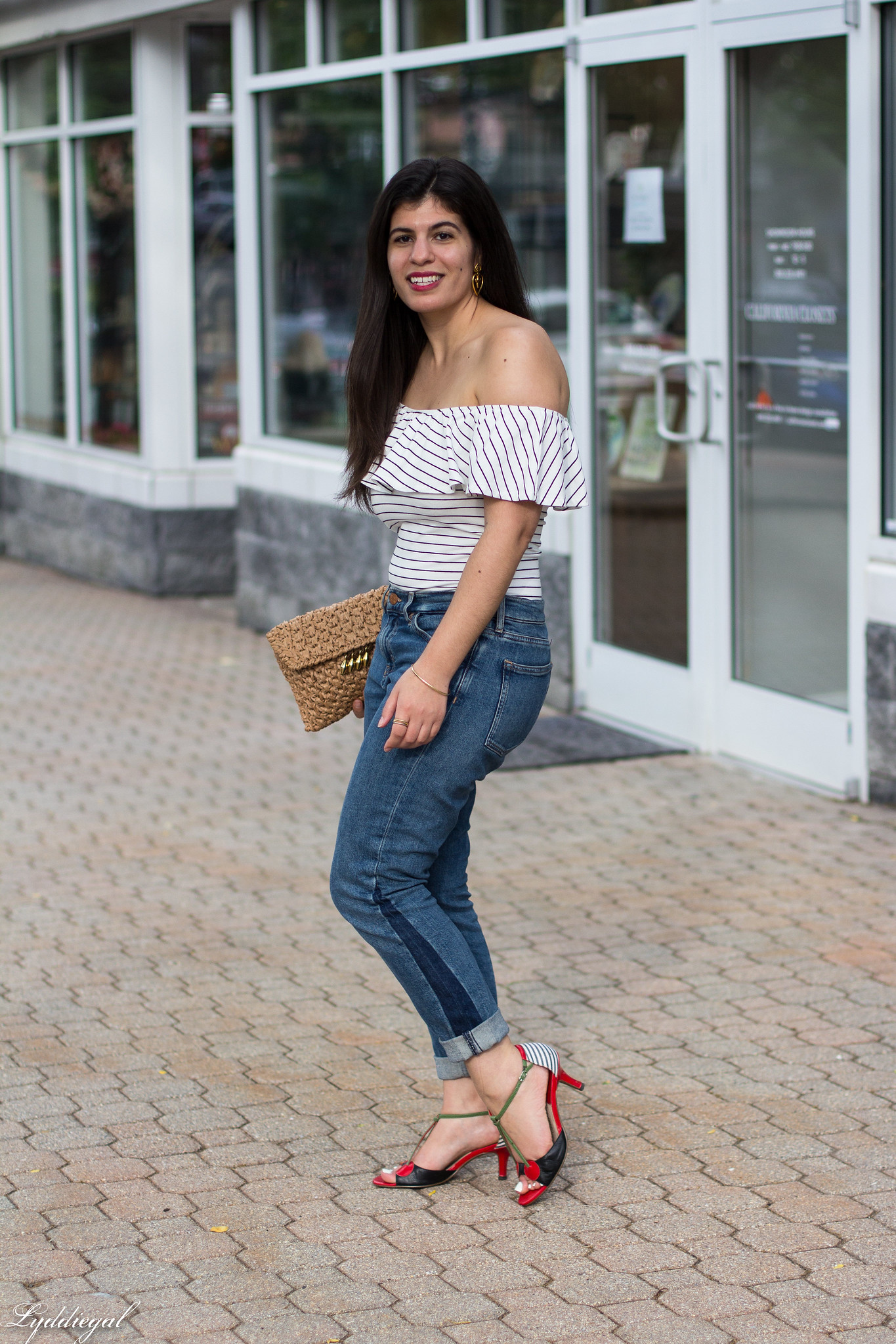 striped bodysuit, boyfriend jeans, cherry shoes-1.jpg