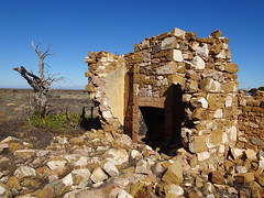 Hammond. Ghost town of the Willochra Plains. The ruins of William Hudson's stone house and fireplace. He was the first Post Master and then grain buyer in the 19th century town.