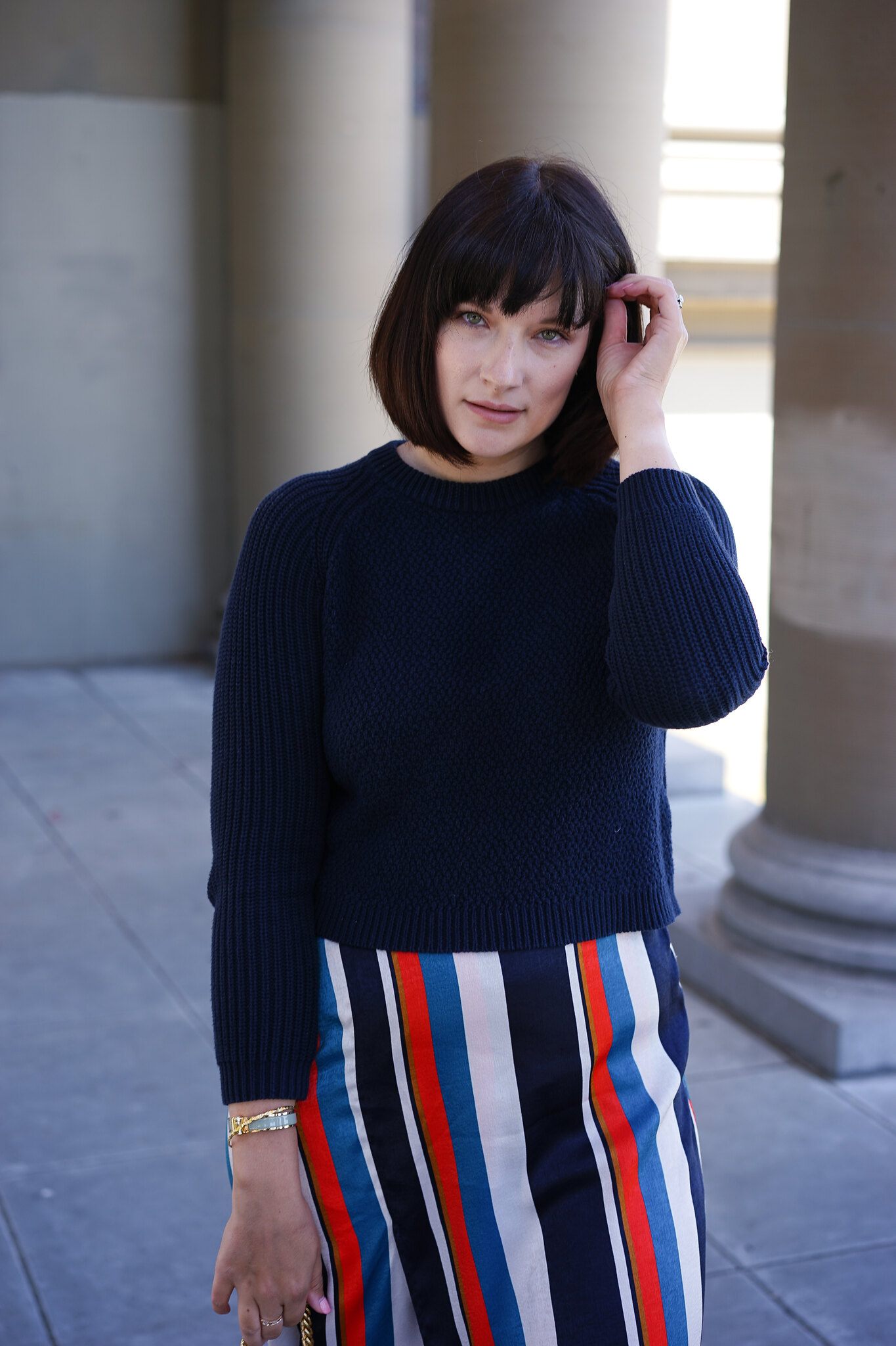 Zara, Whistles, cotton knitwear, mom blogger, postpartum, OOTD, stripe skirt, fashion blog