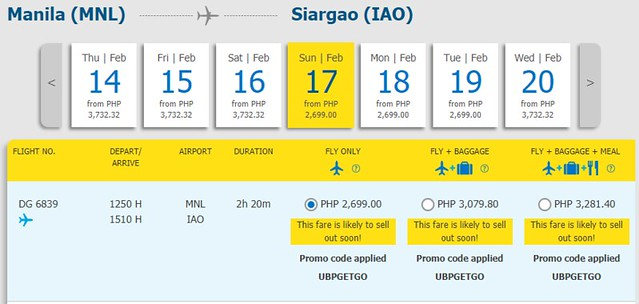 Manila to Siargao Cebu Pacific Promo February 17, 2019