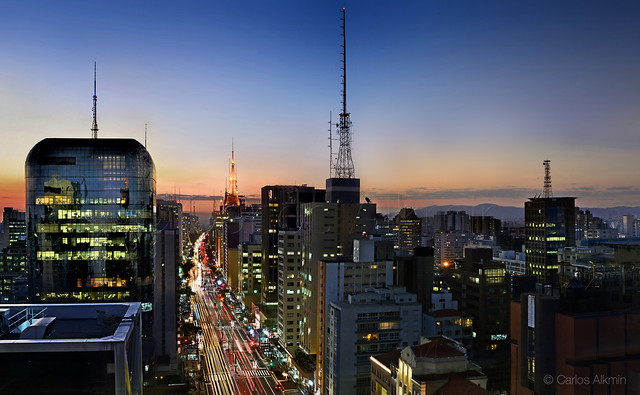 Sao Paulo - Avenida Paulista / Paulista Avenue - view from SESC rooftop