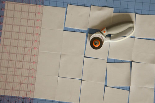 "1. Cut starched & ironed fabric into 3.25-3.5"" squares, in colors from guide at left."