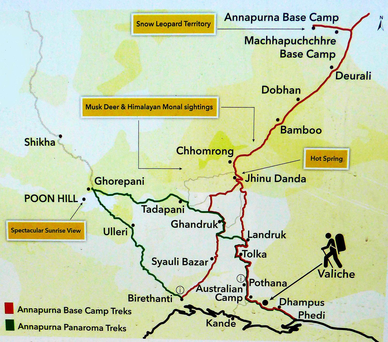 Map of the Poon Hill Trek, Annapurna Panoramic Treks, and The Annapurna Base Camp Trek produced by the Annapurna Conservation Area project.