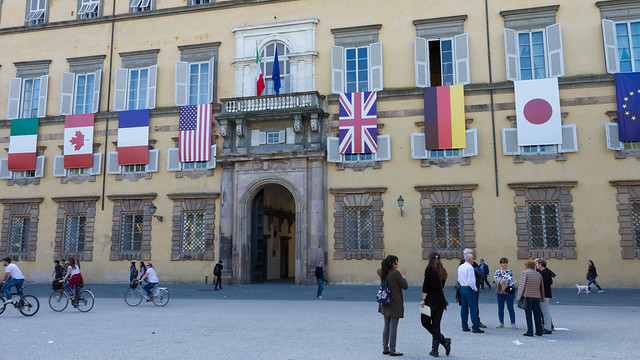 G7 flags hung on Italian building