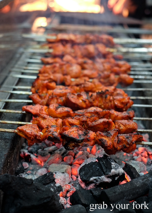 Chicken tikka skewers on charcoal at Lakemba Ramadan Food Festival 2018 on Haldon Street