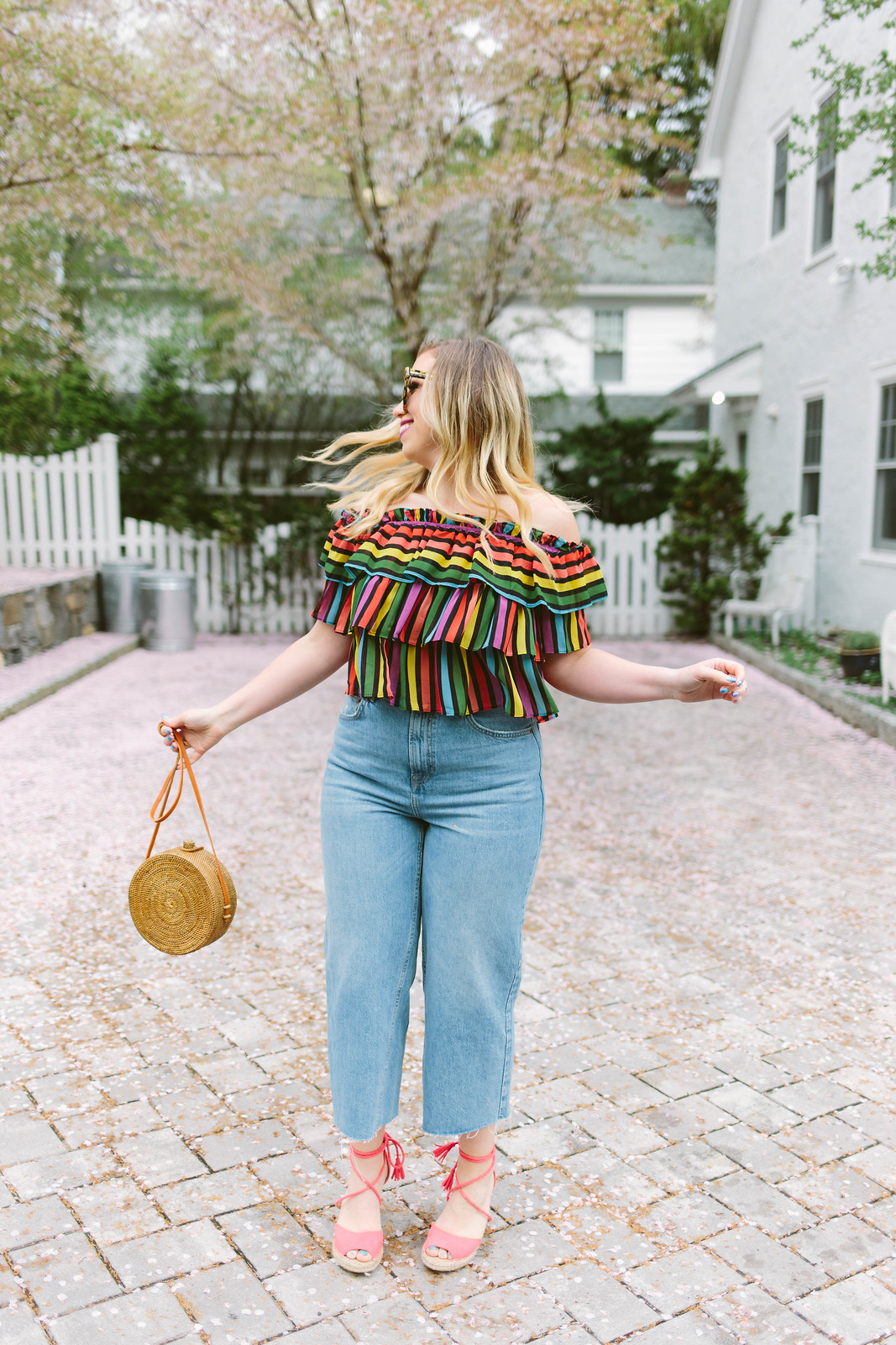Rainbow Striped Crop Top Topshop High Waist Wide Leg Crop Jeans Rattan Round Bag Red Espadrilles Spring Summer Outfit Inspiration Jackie Giardina