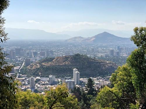 "chile santiago city ciudad cityscape skyline urban downtown southamerica southernhemisphere metropolis cerro san cristobal"""