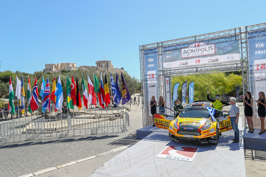 06 BRYNILDSEN  Eyvind (nor),  ENGAN Veronica (nor), Ford Fiesta R5, podium ambiance during the European Rally Championship 2018 - Acropolis Rally Of Grece, June 1 to 3 at Lamia - Photo Alexandre Guillaumot / DPPI