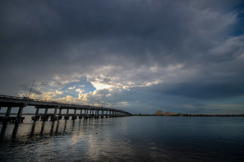 florida fl fla sunset sun landscape hdr manateeriver river water cloud clouds bridge us41 highway ushighway 41