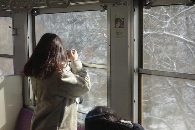 Enjoying the train view