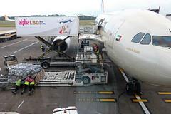 Loading freight onto A6-EYI - Edinburgh Airport 14/6/18