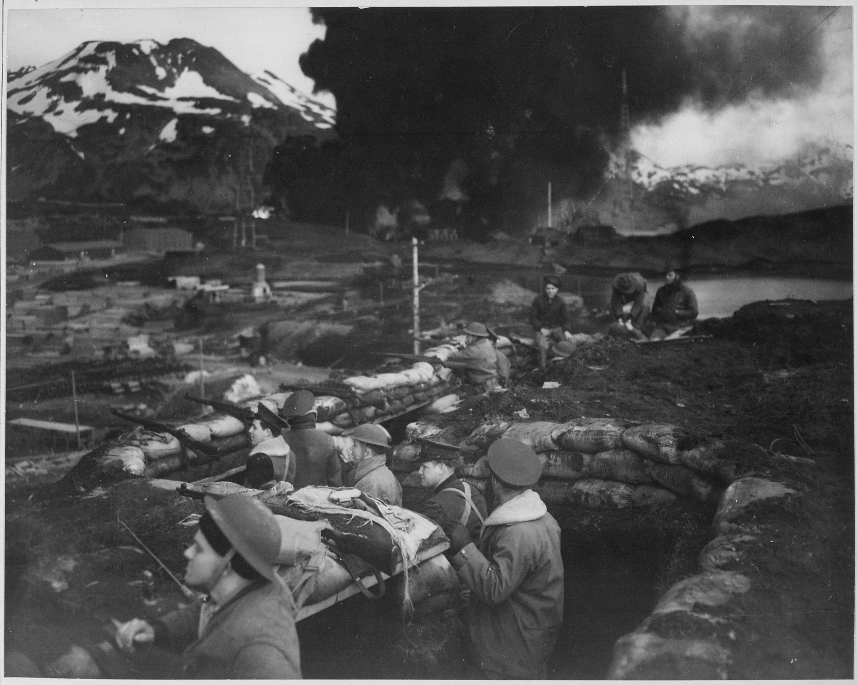 Japanese attack on Dutch Harbor, June 3, 1942. Group of U.S. Marines on the