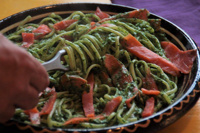 Ilinquine met spinazie, room en zalm