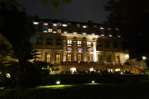 Evening picture of back side of Palacio Duhau. From History Comes Alive: Eight Noteworthy Places to Stay