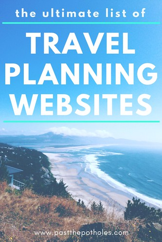 "View of a beach from above with the text: ""The ultimate list of travel planning websites""."