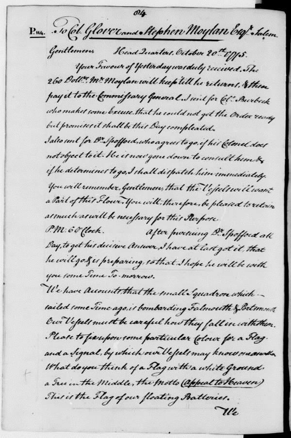 Joseph Reed letter to John Glover, October 20, 1775.