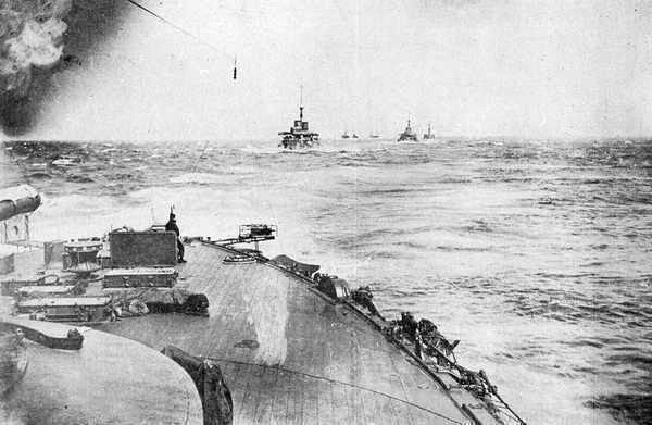 Upon sighting the Baltic Fleet early on May 27, 1905, a signal was sent to the ships of the Combined (Japanese) Fleet and the ships weighed anchor at once. The Japanese fleet is seen proceeding toward the enemy.