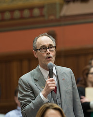 State Representative Arthur O'Neill asks a question during a debate in the House of Representatives during the final night of the 2018 regular legislative session.