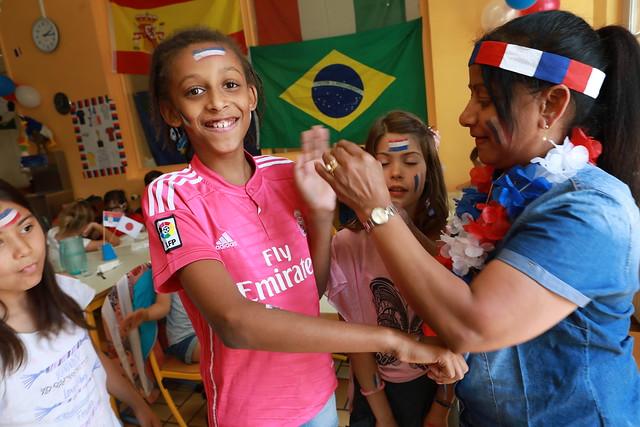 Lancement de la coupe du monde de football à l'école Descartes