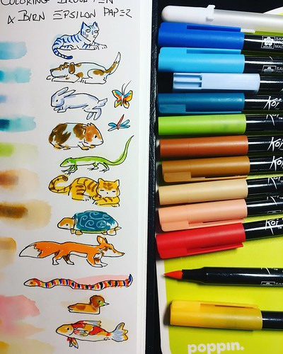 #jetpens #blog #sponsorship lot for June is some open stock #koicoloringbrushpen colors plus a #white #gellyroll pen for #highlights micro coloring animals and color reference chart testing solubility