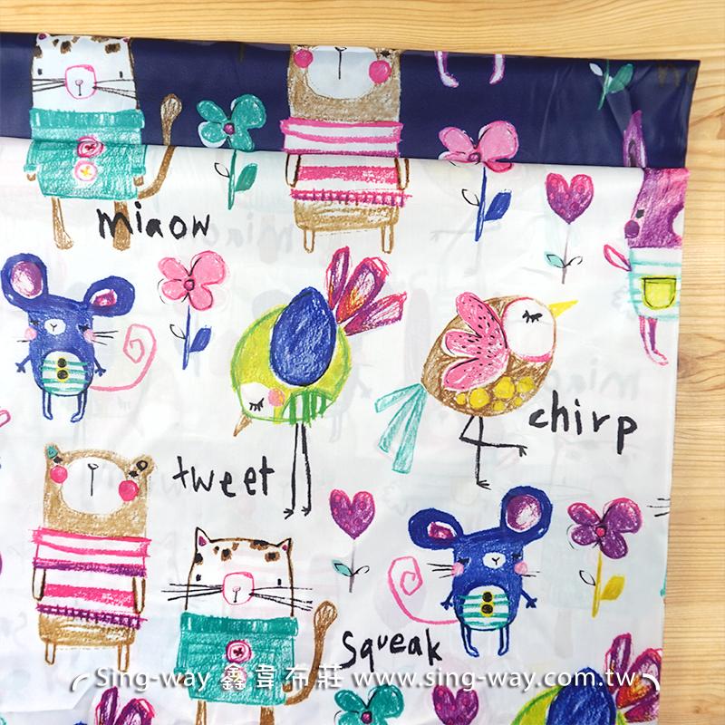 塗鴉動物 童趣風格 手繪蠟筆塗鴉 可愛動物 餐墊 折疊收納購物袋 服裝裡布 風衣布 ED590013