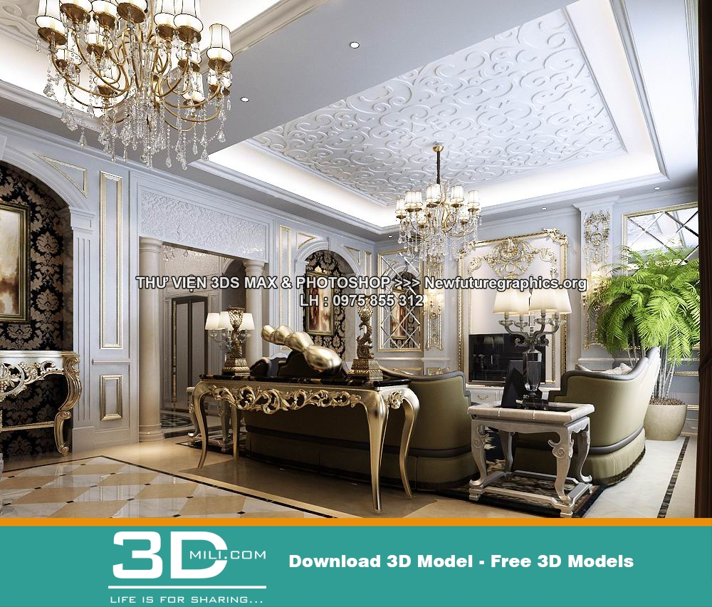 105. Classic Living Room 3DSmax File Free Download