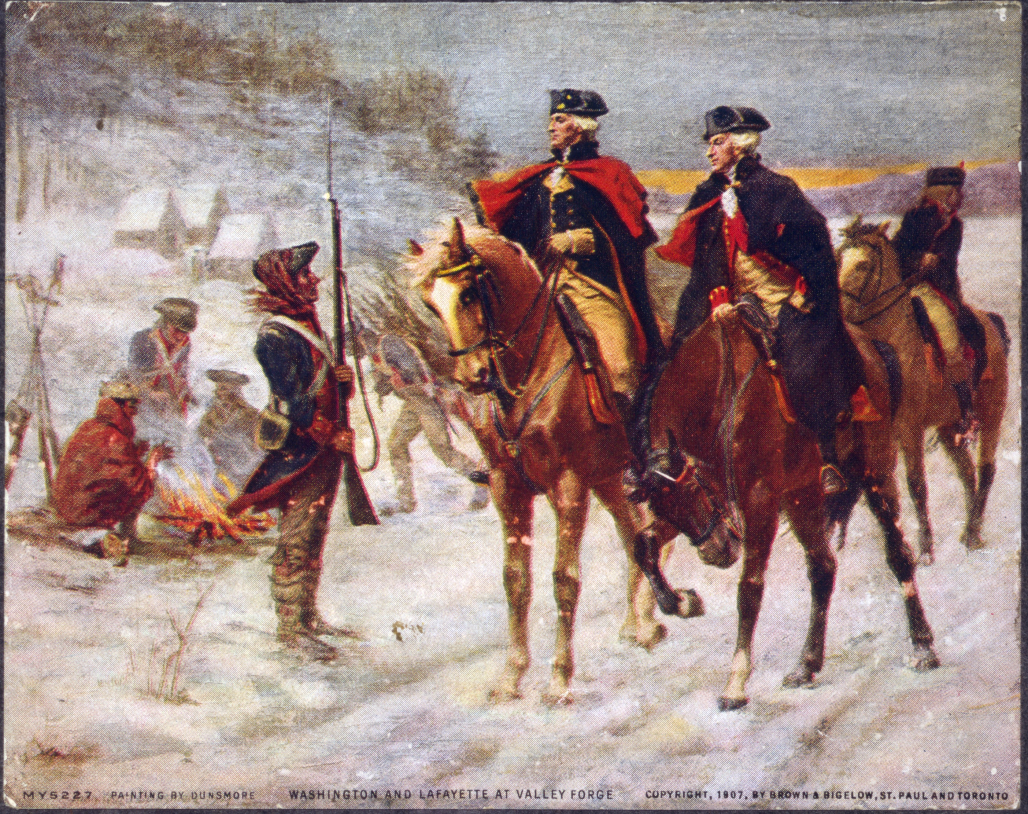 John Ward Dunsmore's depiction of Lafayette (right) and Washington at Valley Forge, painted in 1907.