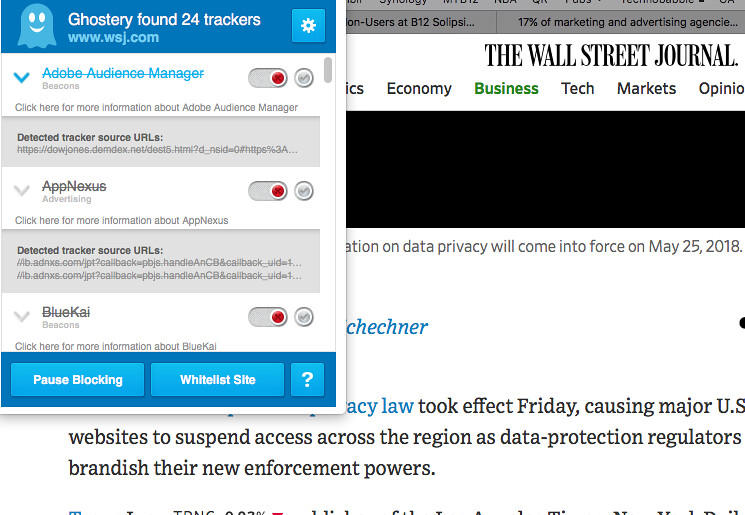 Ghostery Report: Wall Street Journal