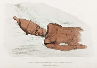 Plate 28 : Colossal Head of Red Granite by Giovanni Battista Belzoni (1778-1823) from Plates illustrative of the researches and operations in Egypt and Nubia (1820).