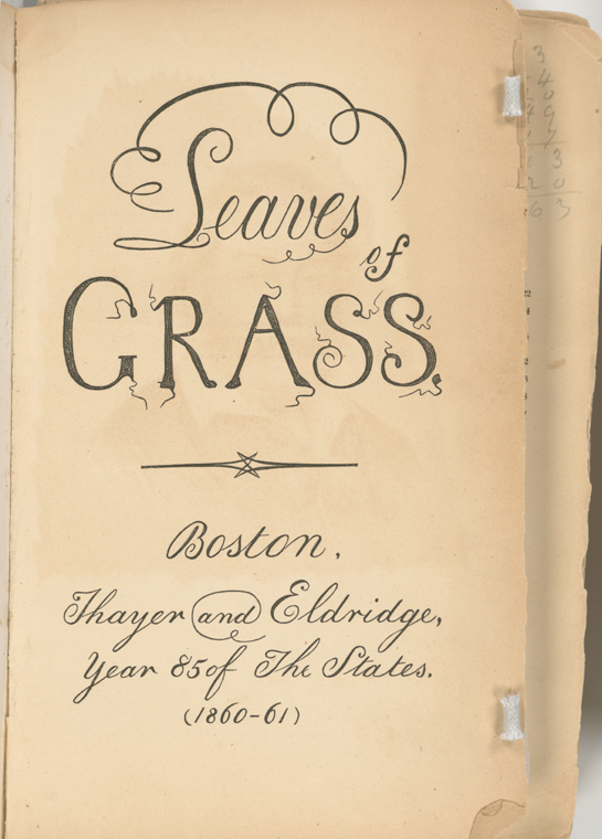 Second edition of Leaves of Grass, printed by Thayer & Eldridge, Boston, 1860.