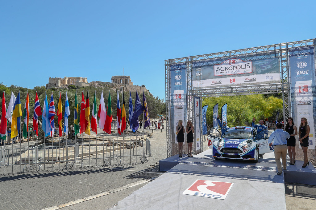 05 HABAJ Lukasz (pol), DYMURSKI Daniel (pol) , RALLY TECHNOLOGY, FORD FIESTA R5, podium ambiance during the European Rally Championship 2018 - Acropolis Rally Of Grece, June 1 to 3 at Lamia - Photo Alexandre Guillaumot / DPPI