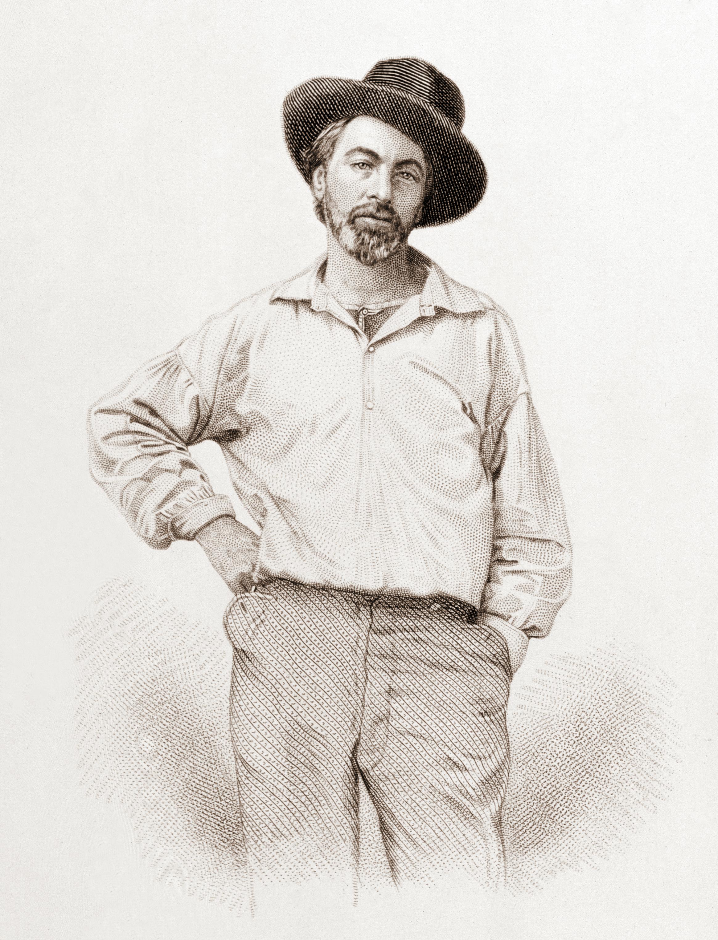 Walt Whitman (1819-1892), age 37, frontispiece to Leaves of grass, Fulton St., Brooklyn, N.Y., 1855, steel engraving by Samuel Hollyer from a lost daguerreotype by Gabriel Harrison, July 1854.