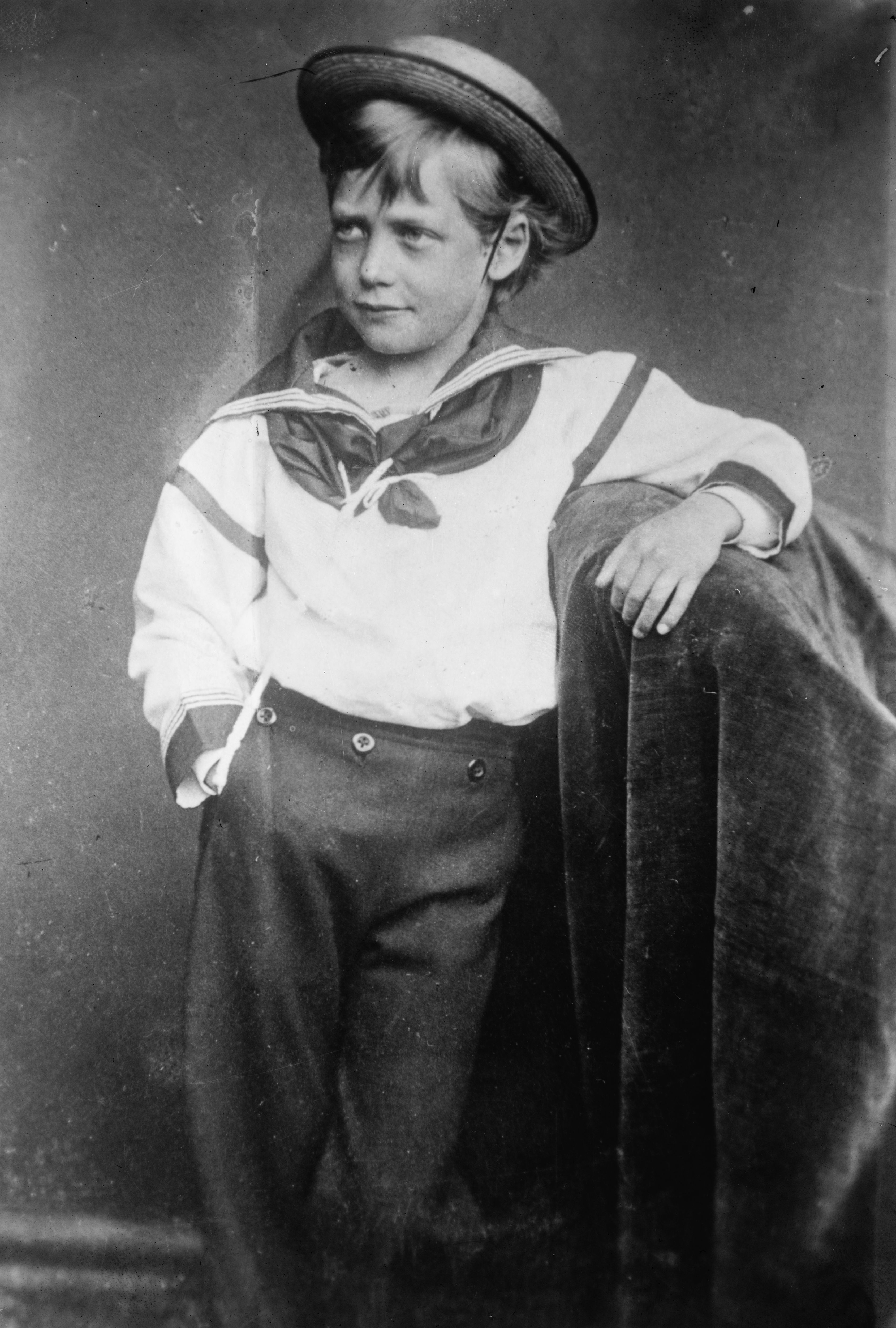 King George V of the United Kingdom as a young boy. Photograph taken 1870; published by Bain News Service 1911