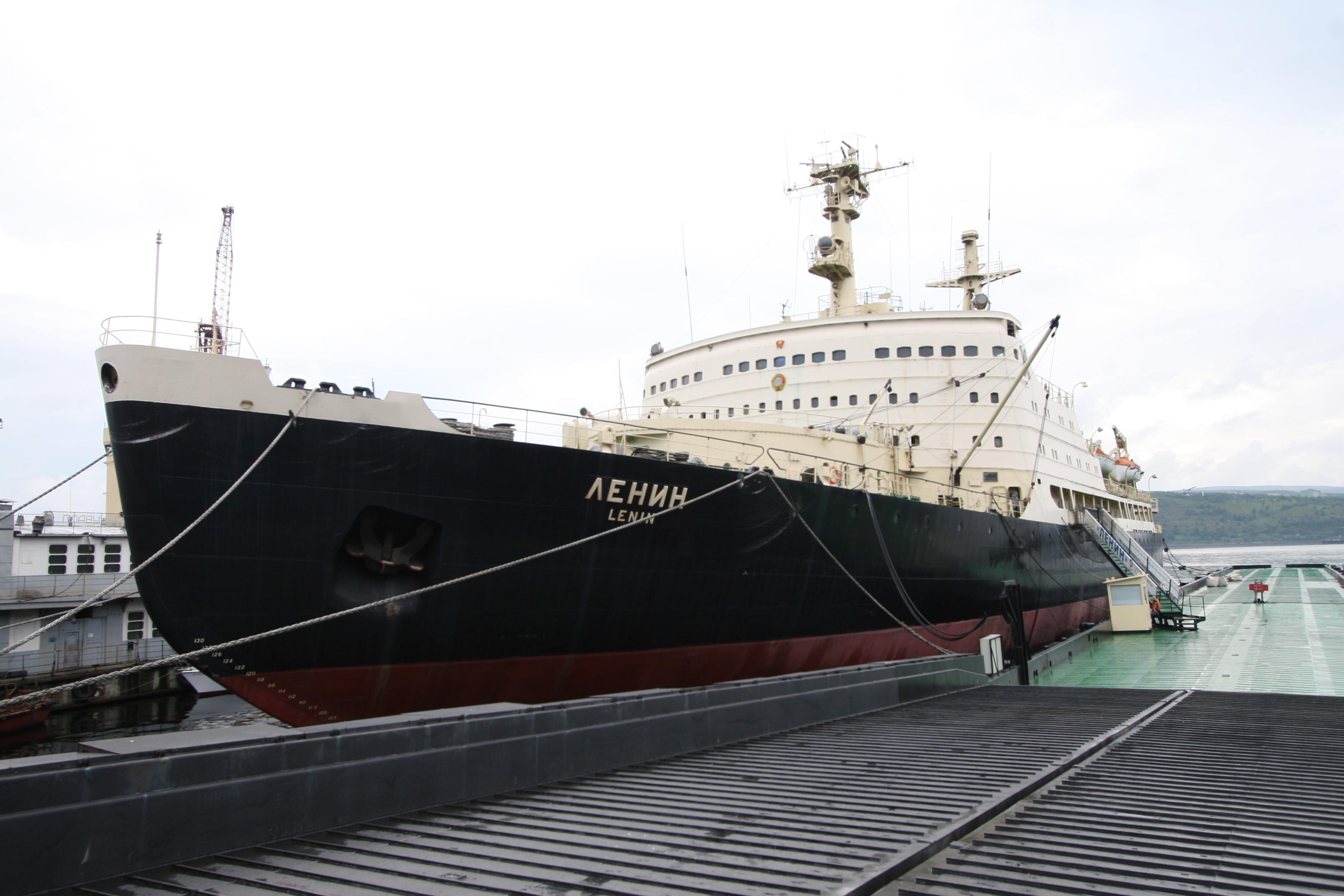 Russian icebreaker Lenin in Murmansk. Photo taken on August 13, 2009.
