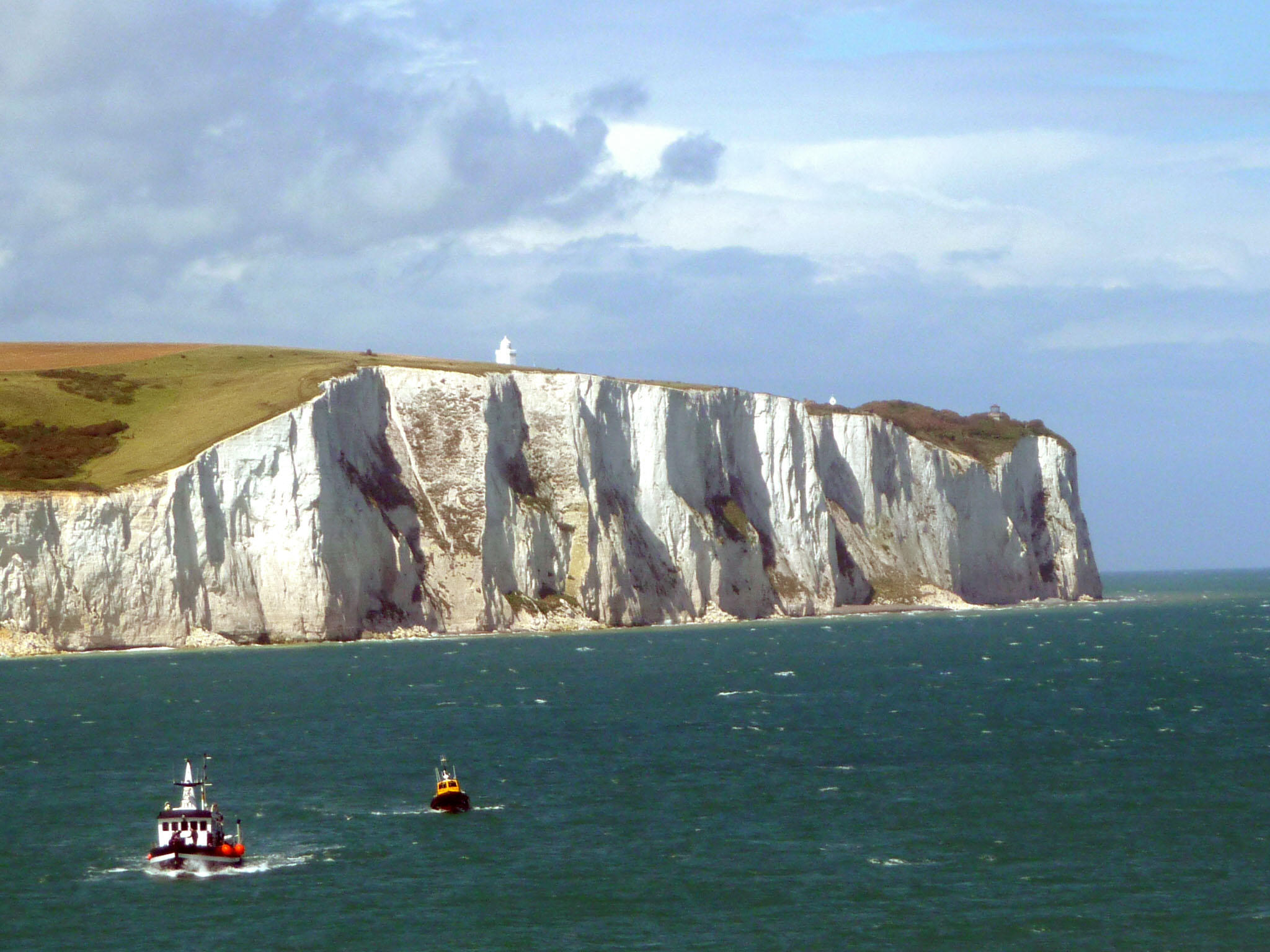 The White Cliffs of Dover viewed from the Strait of Dover. Photo taken on July 10, 2012.