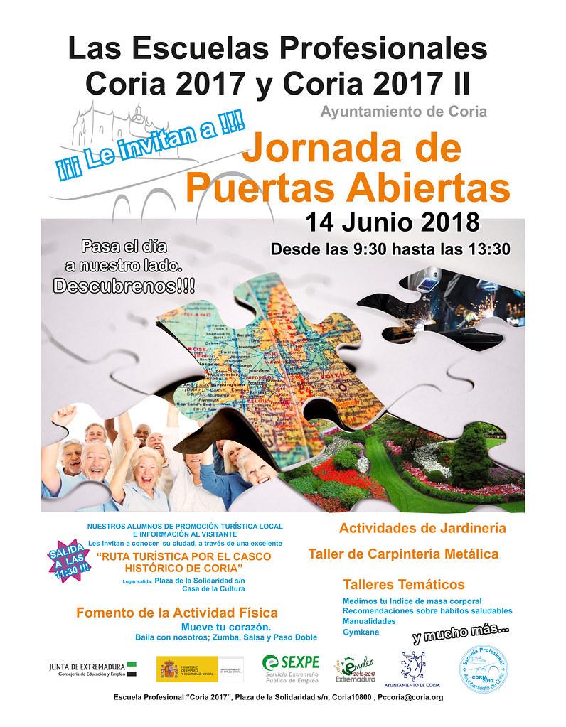 Las Escuelas Profesionales de Coria 2017 y Coria 2017 II organizan una Jornada de Puertas Abiertas para el jueves día 14