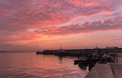 Sunset at Port Oriel, Clogherhead, Louth.