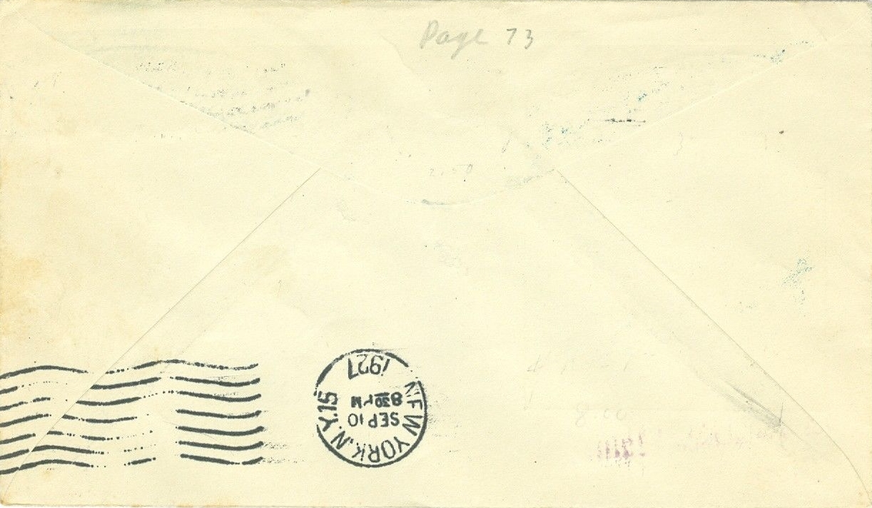 Rear of the above-pictured cover with September 10 New York arrival postmark.
