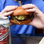 @aquidneck_farms Burger night served along side a @gansettbeer tall boy! All this only $10 every Thursday! Our patio is open till 10pm for dinner & late for cocktails. : @nikonusa : @billpietras :tshirt:: @commonrootsbrewing • • • • #burger #burgers #burg