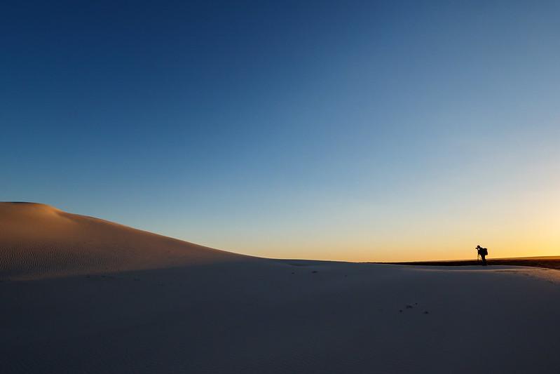 Photographer shooting in sand dune (Eucla)