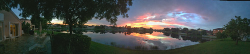 Sunrise from our patio 180 degrees pano 20180608