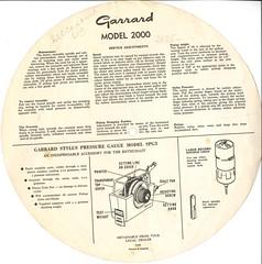 Garrard Model 2000 Instructions Back