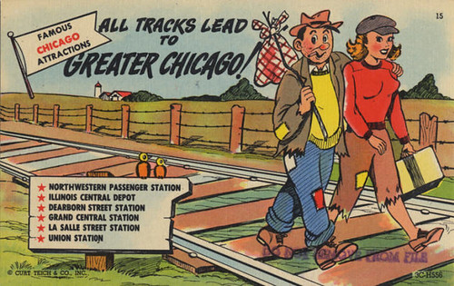 All Tracks Lead to Greater Chicago postcard, Curt Teich Co.