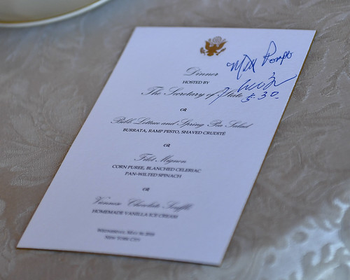 A Signed Menu at Working Dinner