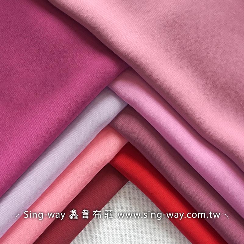 素面雪紡紗 雪紡衣 雪紡紗裙 長裙 垂墜風 無印風格 輕柔 不易皺 裝飾服裝布料 IA290056 紅粉色系