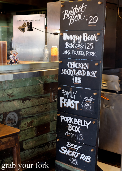 Black Bear BBQ menu in Blacktown Sydney