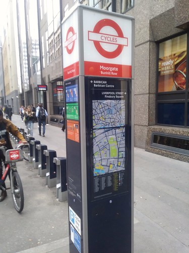 Santander Cycle bike sharing kiosk employs maps from the Legible London wayfinding system