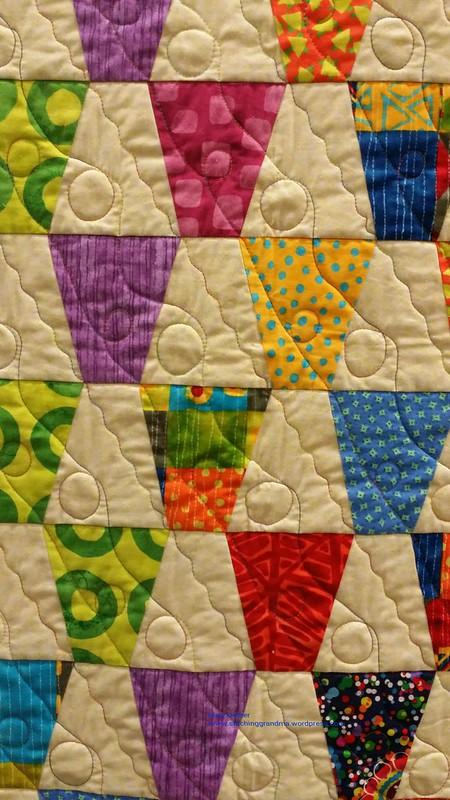 Diagonal quilting on a tumbler block quilt